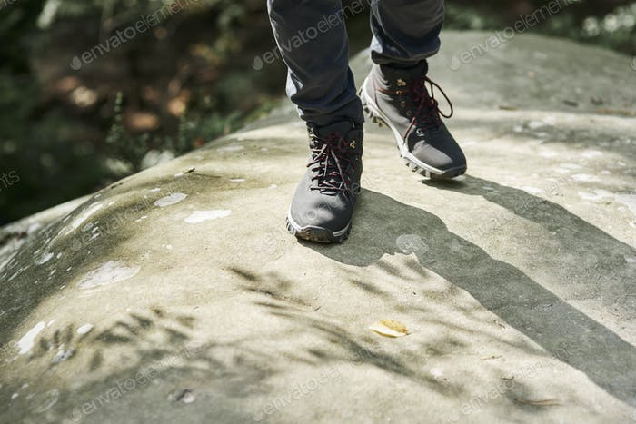 Close up of hiker's legs