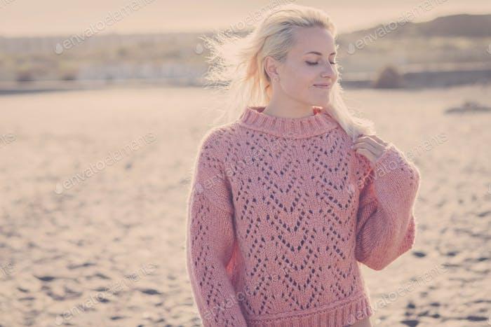 outdoor beach portrait of beautiful blonde
