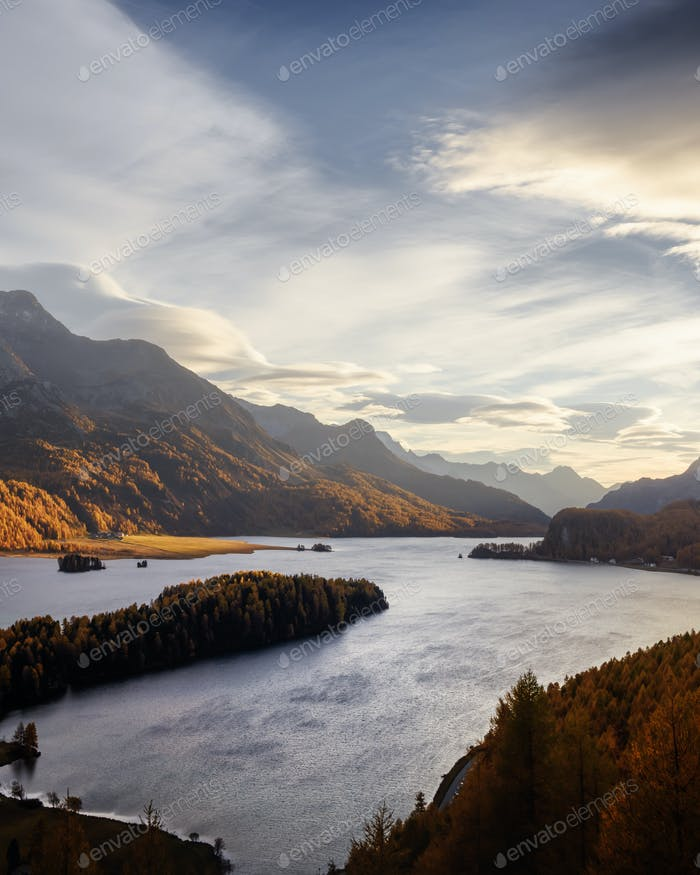 Aerial view on autumn lake Sils in Swiss Alps