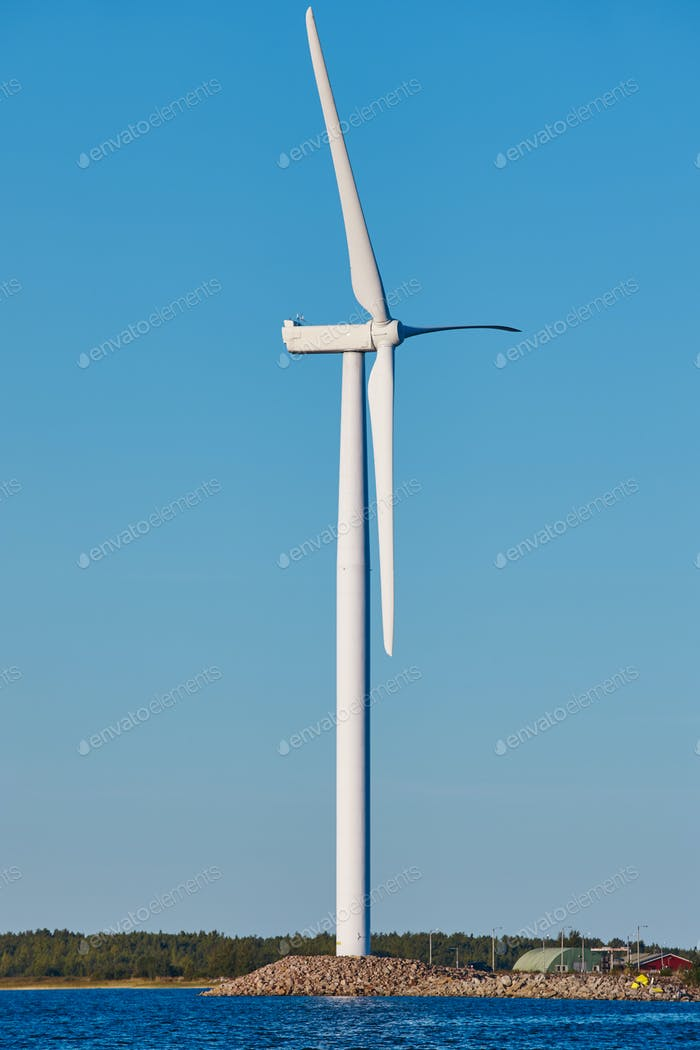 Windmill in the baltic sea. Renewable clean and green energy. Finland