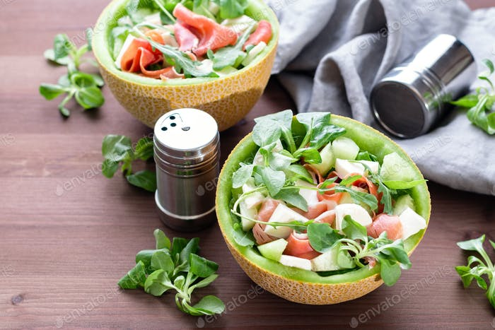 Mediterranean salad with melon, jamon and mozzarella