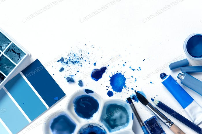 Background with art Supplies and Classic Blue Colors