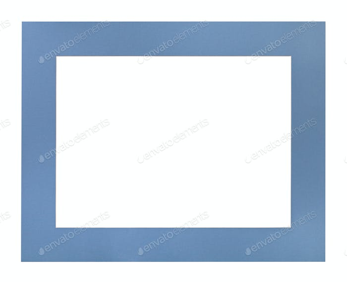 wide flat blue passe-partout for picture frame
