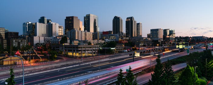Early Morning Commuters Create Light Trails Before Rush Hour in Bellevue