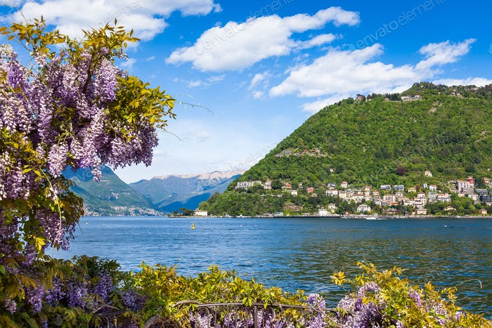 Como city and lake near Milan in Italy