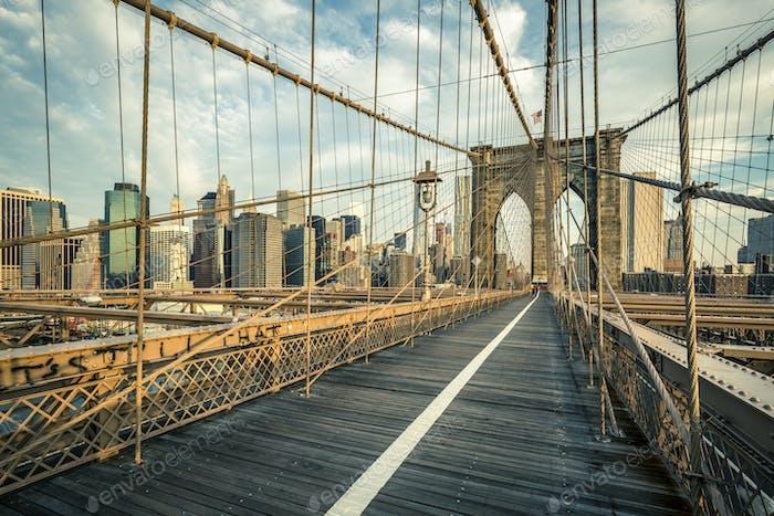 Famous Brooklyn Bridge in the morning
