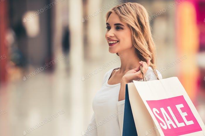Woman doing shopping