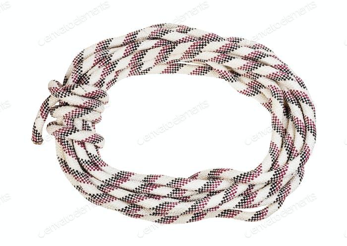 Bight aus gestreiftem synthetischem Seil isoliert auf weiß