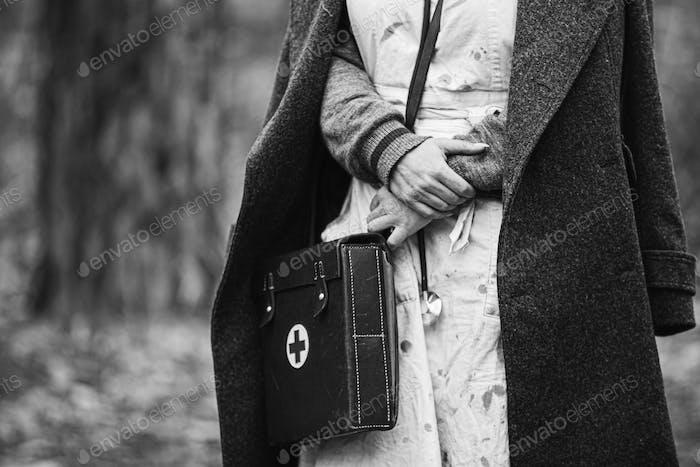 German Deutsch nurse paramedic Of World War 2 uniform. black and white