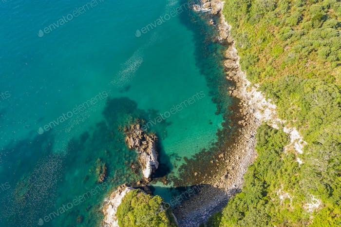 Luftaufnahme von Hahei Beach Neuseeland
