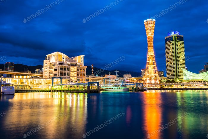 Beautiful cityscape with architecture building and kobe tower ci
