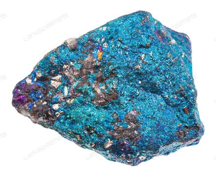 raw blue Chalcopyrite stone isolated