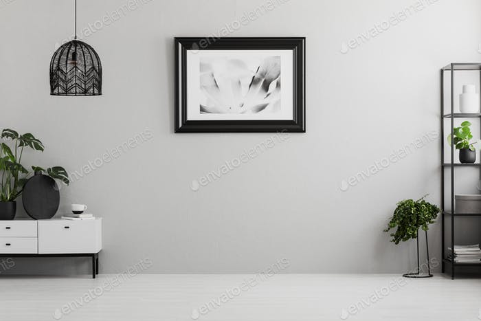 Poster on grey wall in empty living room interior with plants, l photo by  bialasiewicz on Envato Elements