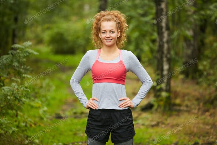 Sportswoman in the forest