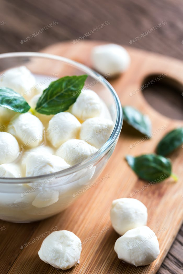 Bowl of Bocconcini mozzarella with fresh basil