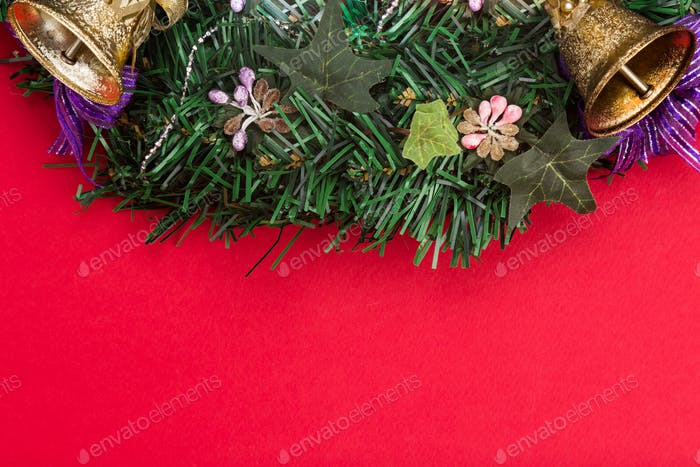Simple red Christmas background with fir tree,  ornaments and be