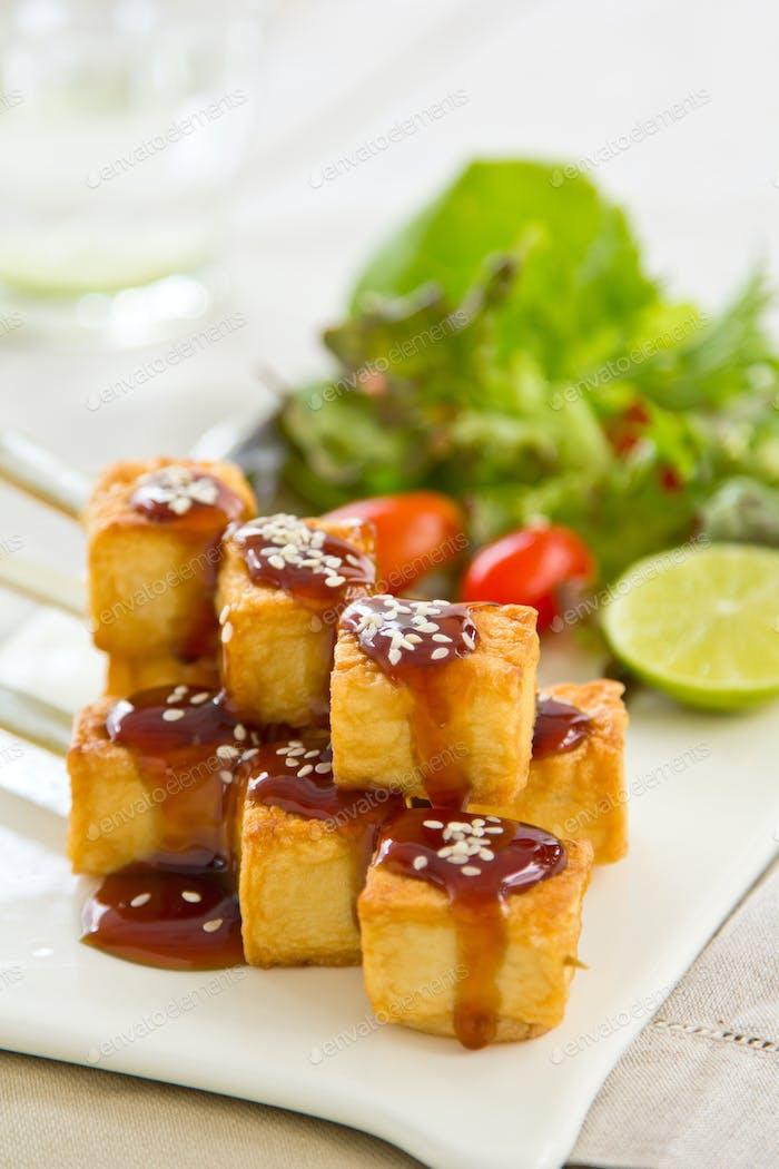 Grilled Tofu with Teriyaki sauce and salad