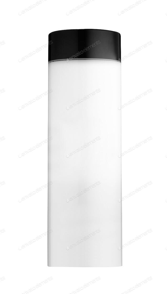 White glossy plastic shampoo bottle