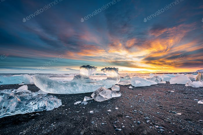 Sunset over Diamond beach in Iceland
