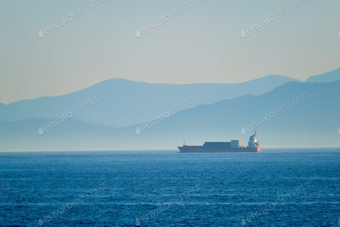 Cargo vessel ship in Aegean Sea