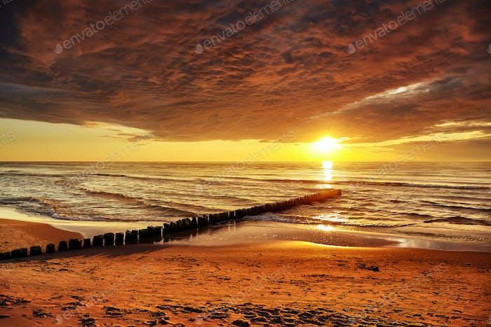 Golden sunset over Baltic Sea
