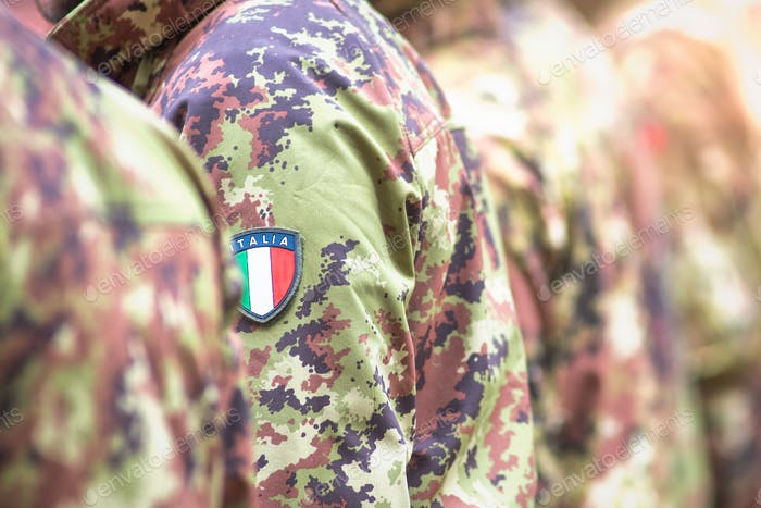 Detail of camouflages of Italian soldiers