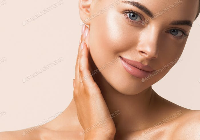 Healthy beauty woman skin close up portrait natural