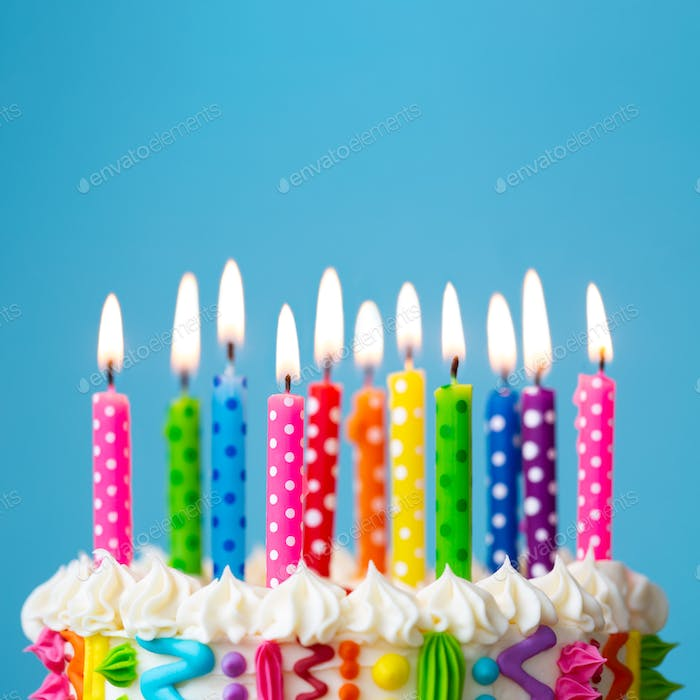 Brightly colored birthday cake candles