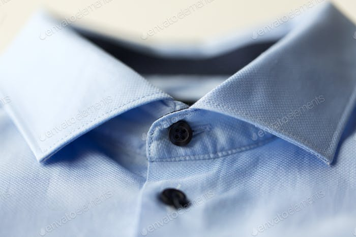 close up of blue shirt collar