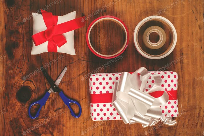 Christmas gift and presents wrapping
