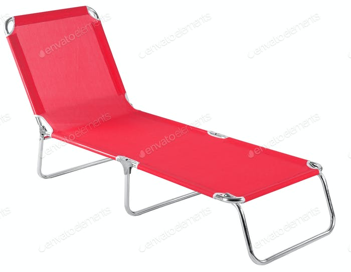 Red deckchair isolated