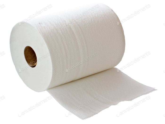 White paper towel roll
