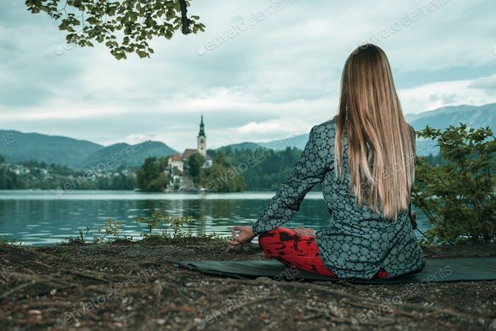 Mindful meditation by the lake