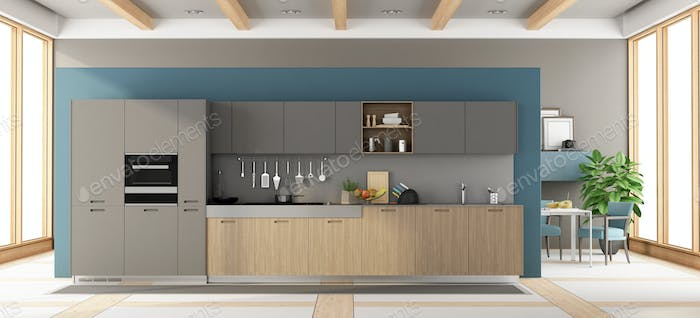 Modern gray and wooden kitchen