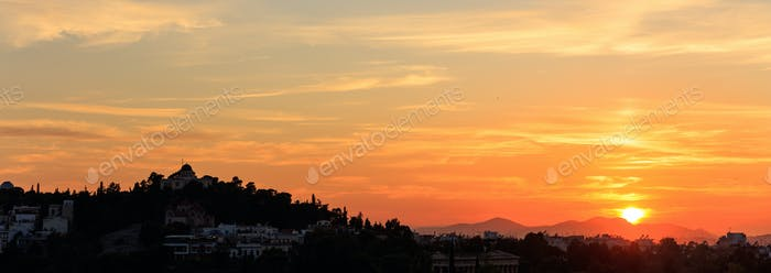 Athens, Greece. Observatory hill at sunset