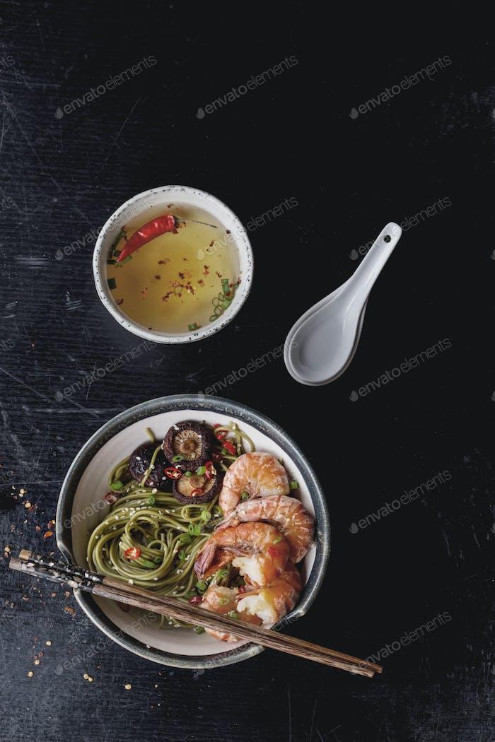 Green tea soba noodles with shrimp