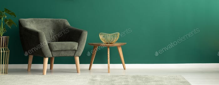 Comfortable armchair in green interior