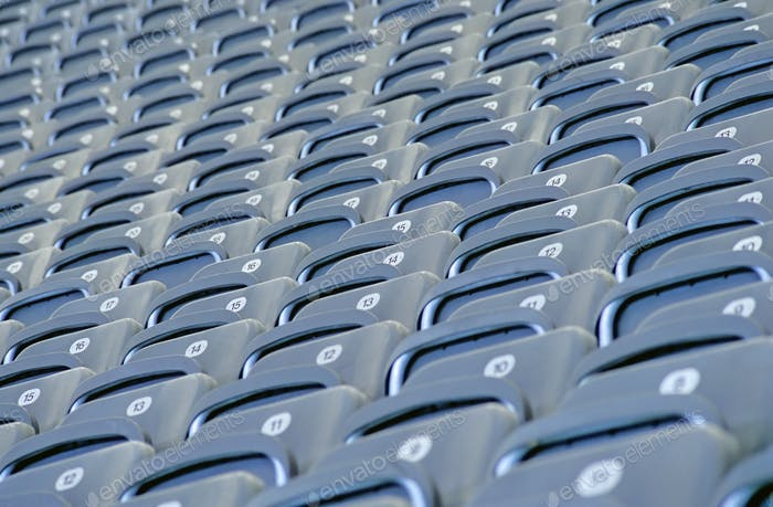 Grey seats in a football stadium