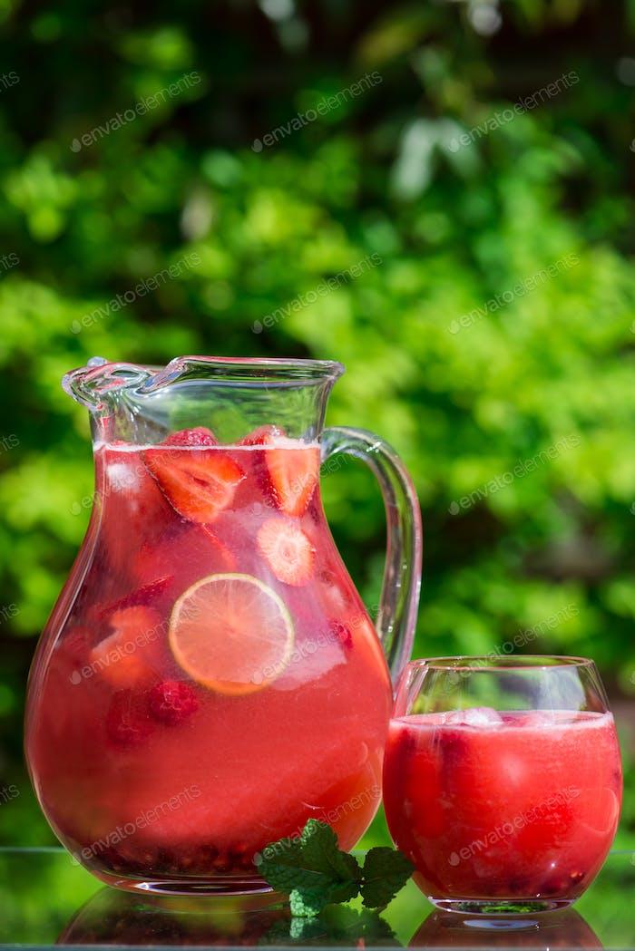 Fresh Homemade Strawberry and Raspberry Lemonade