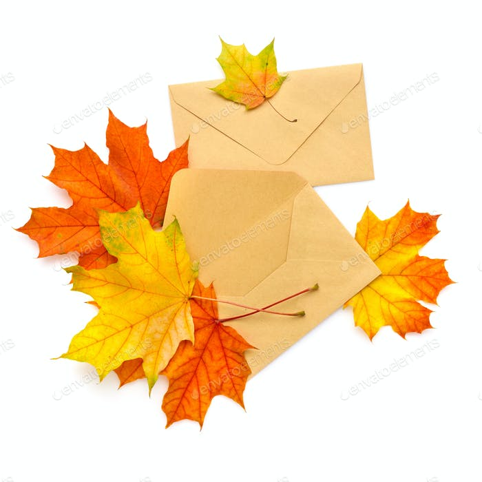 Craft paper envelope with autumn leaves isolated on white backgr