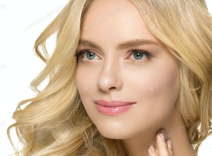 Beautiful blonde female model natural make up long hairstyle beauty portrait