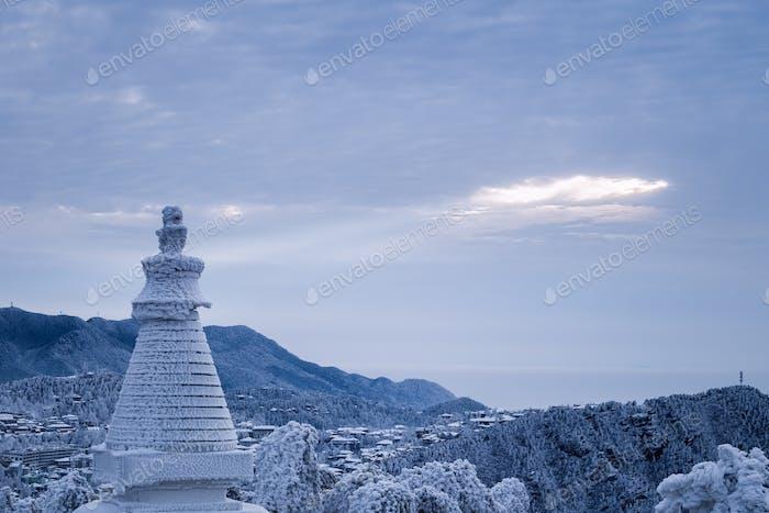 lushan mountain landscape in winter