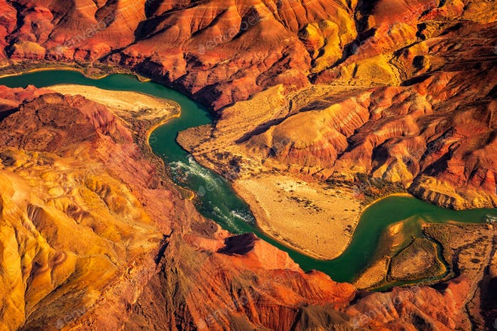 Aerial landscape view of Colorado river in Grand canyon, USA
