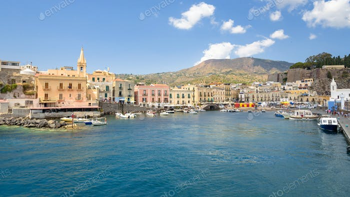 Panoramic view of Marina Corta in Lipari town