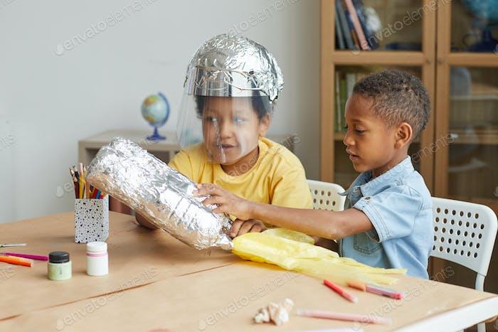 Boys Playing Astronauts