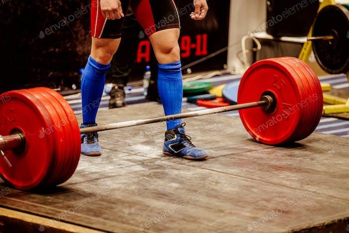 powerlifter prepare lift weight barbell