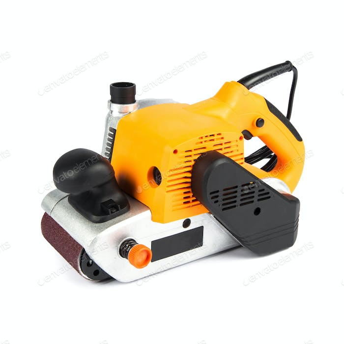 yellow electric sander isolated on a white background
