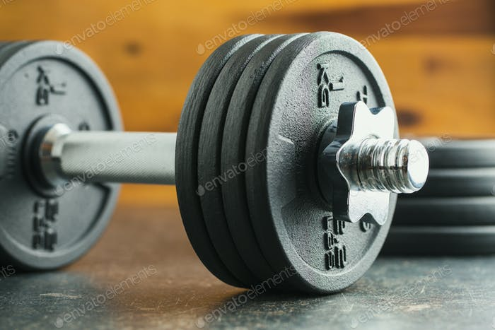 The metal dumbbell.