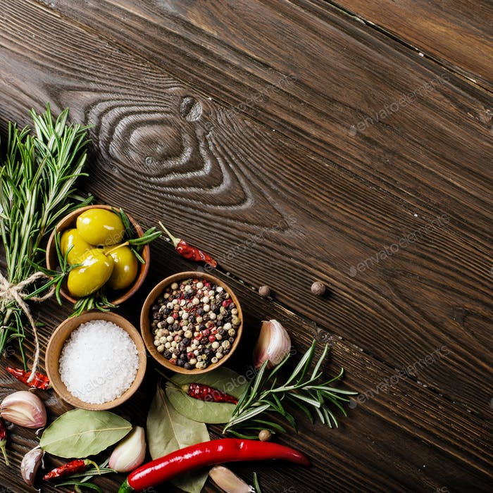 Flat lay Food background frame made of condiments and spices on