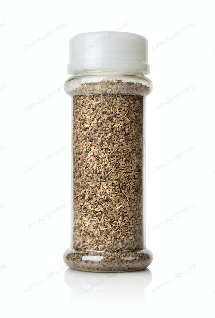 Anise seeds in a glass jar